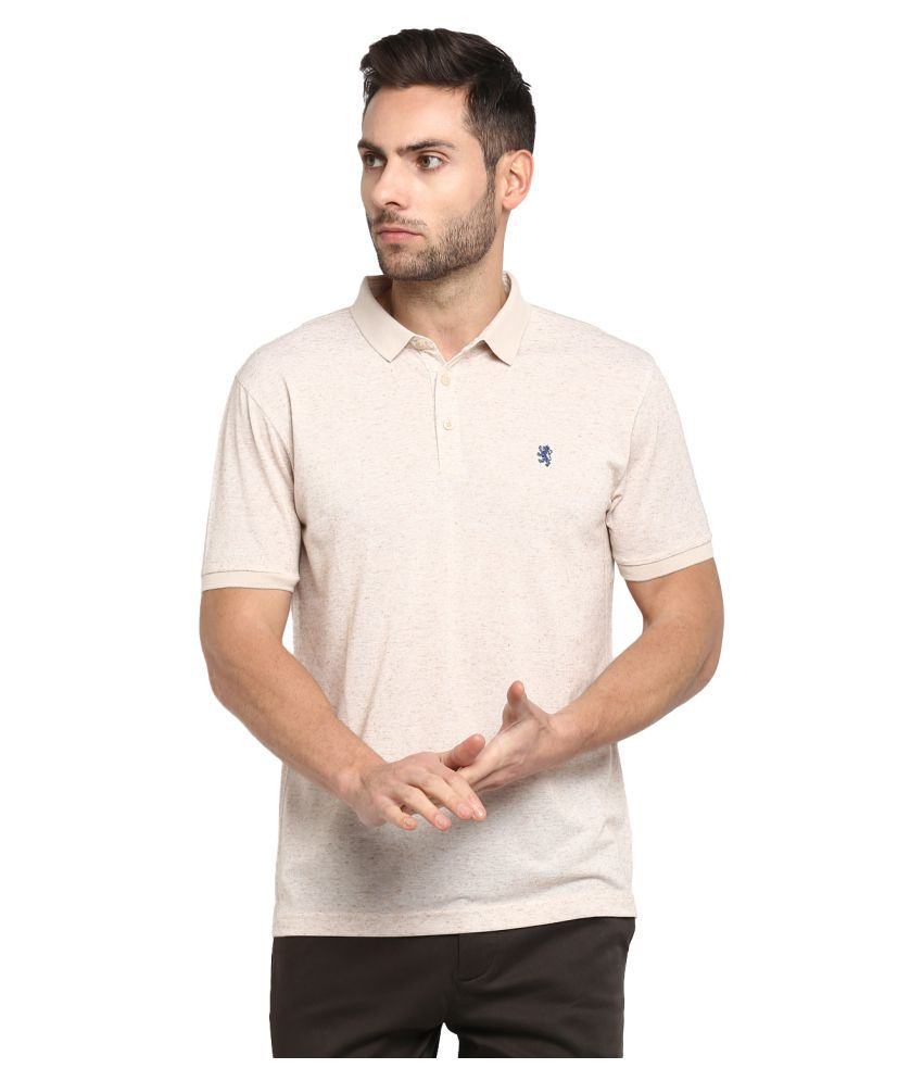 Red Tape Polyester Beige Plain Polo T Shirt