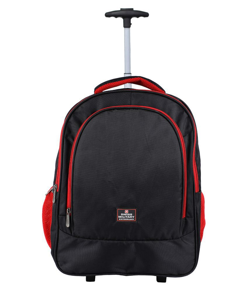 Swiss Military Black Polyester Trolley Backpack