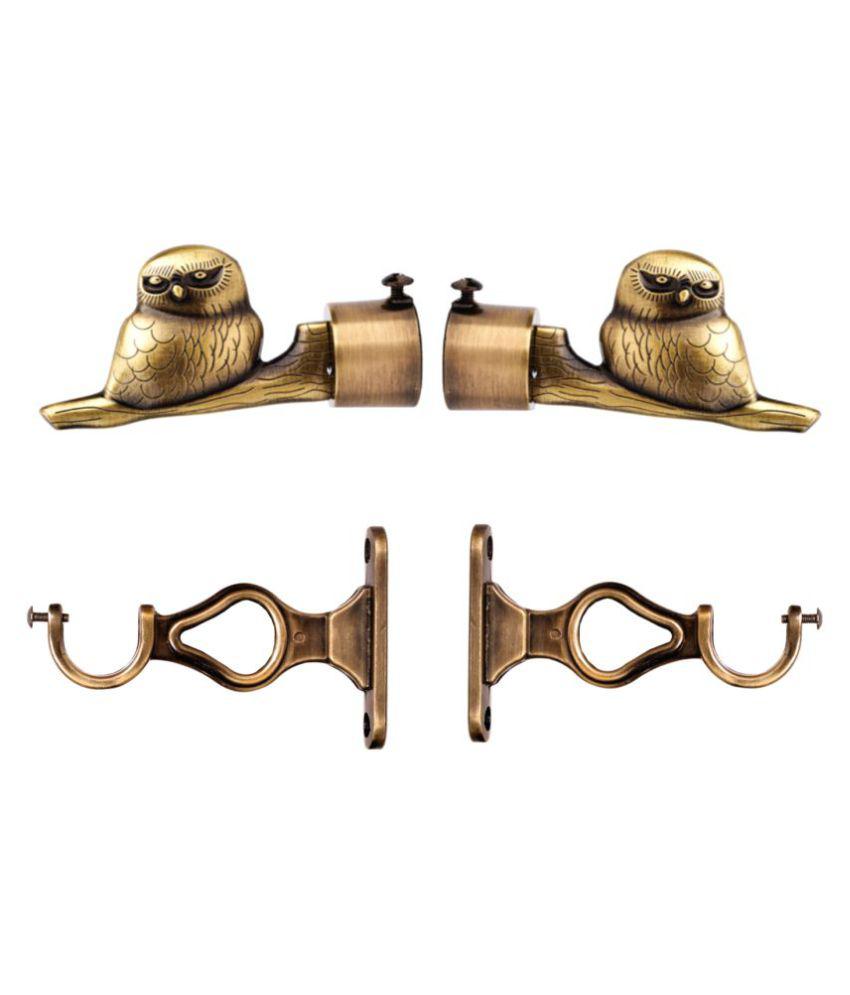 CasaGold Set of 4 Brass Single Rod Bracket