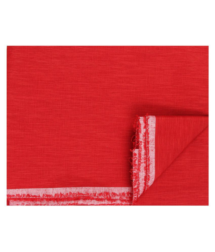 M Maharaja Red Poly Blend Unstiched Kurta