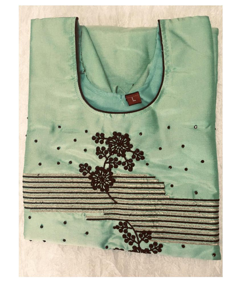 USHAKIRAN Green Bangalore Silk Straight Kurti
