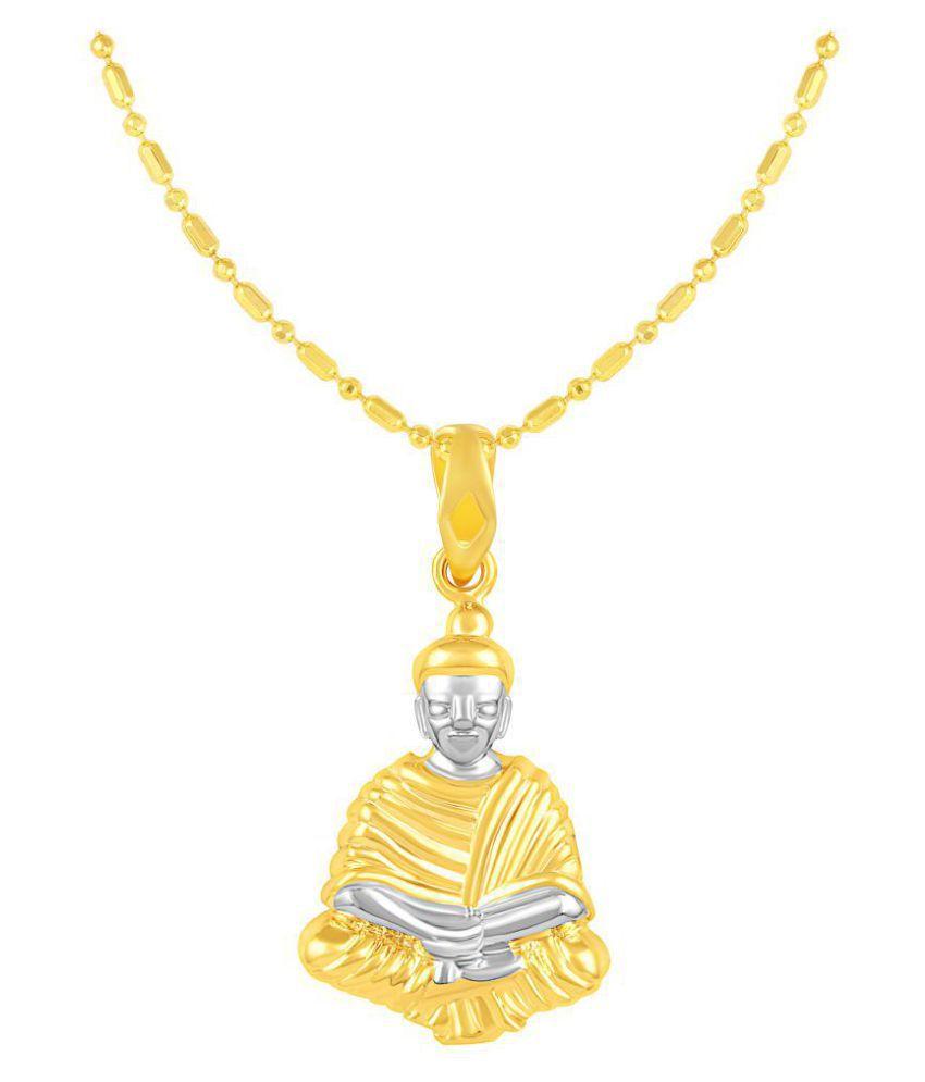 VIRINA Gautam Buddha Gold Plated Alloy & Brass Cubic Zirconia god Pendant with Chain for Women & Men [VGP1130G]