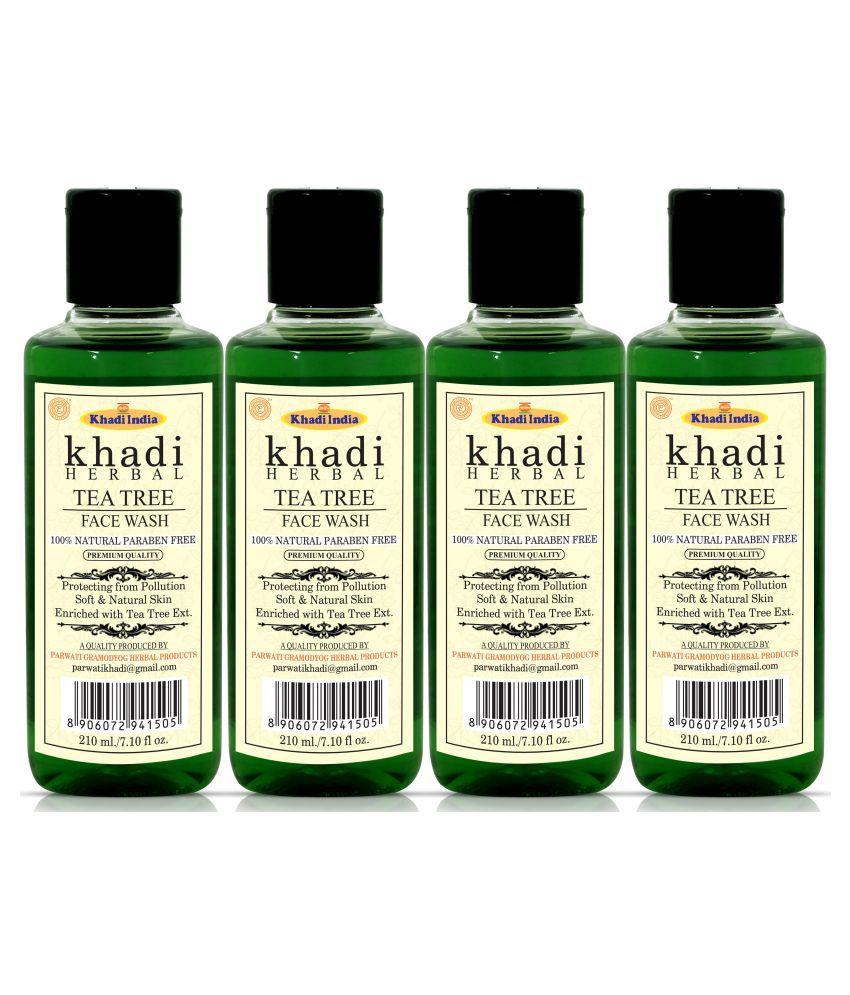 Khadi Herbal Tea Tree Face Wash 840 mL Pack of 4