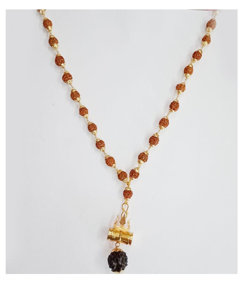 RUDRAKSHA MALA Golden CAPS (TRISHUL Pendant)