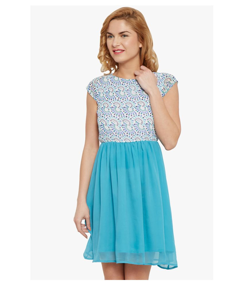 The Vanca Georgette Blue Fit And Flare Dress