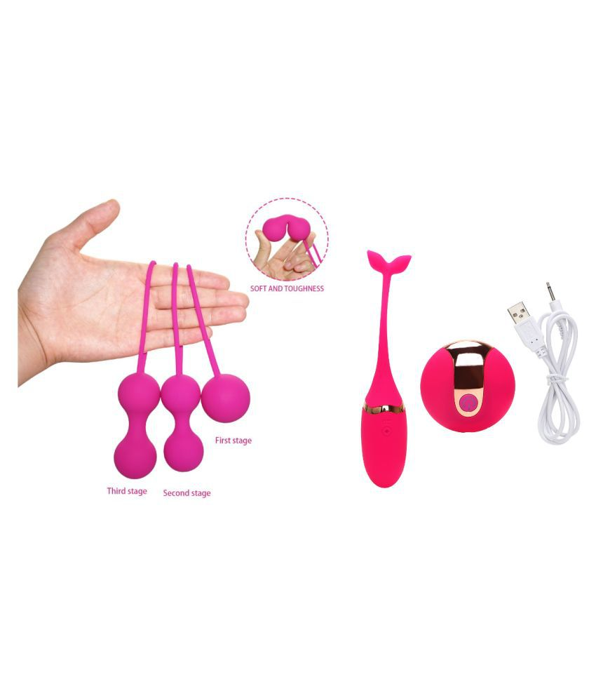 Rilekh Combo of Pink Kegel Ball set of 3 & Vibrator Kegel with remote