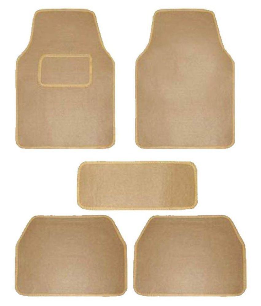 Autofetch Carpet Car Floor/Foot Mats (Set of 5) Beige for Maruti New Vitara Brezza