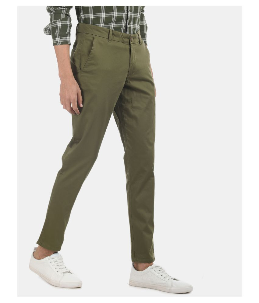 Ruggers Green Slim -Fit Flat Trousers