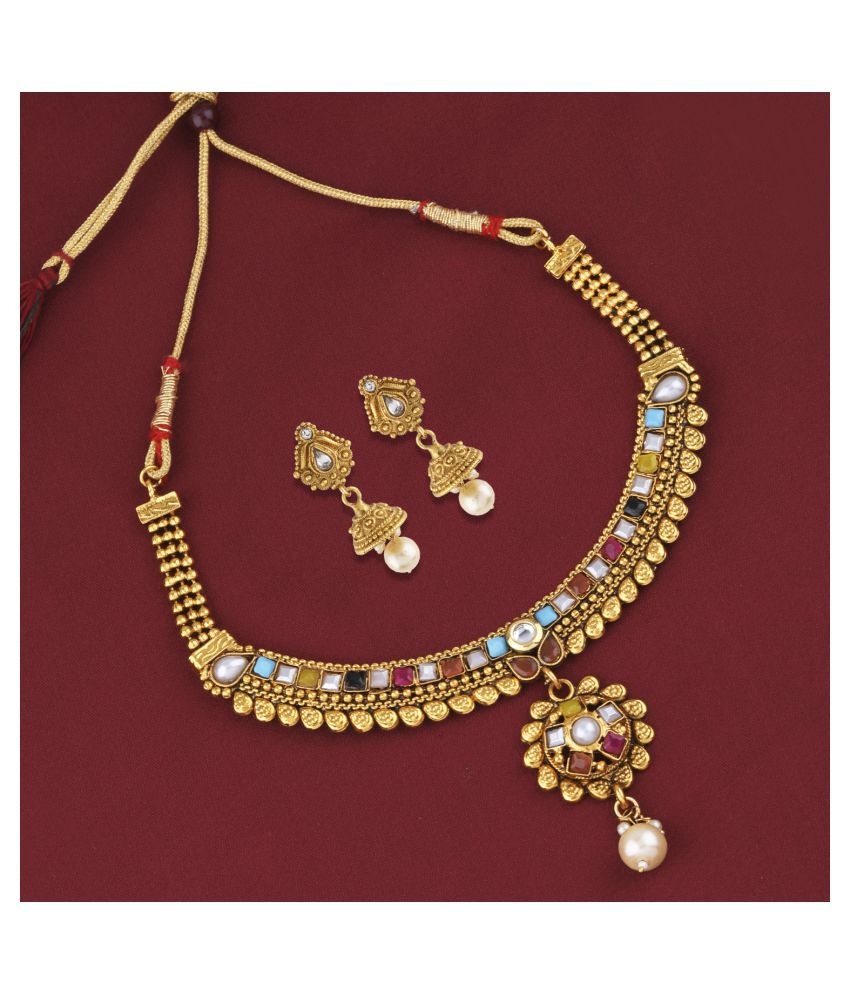 Silver Shine Alloy Golden Choker Traditional Gold Plated Necklaces Set