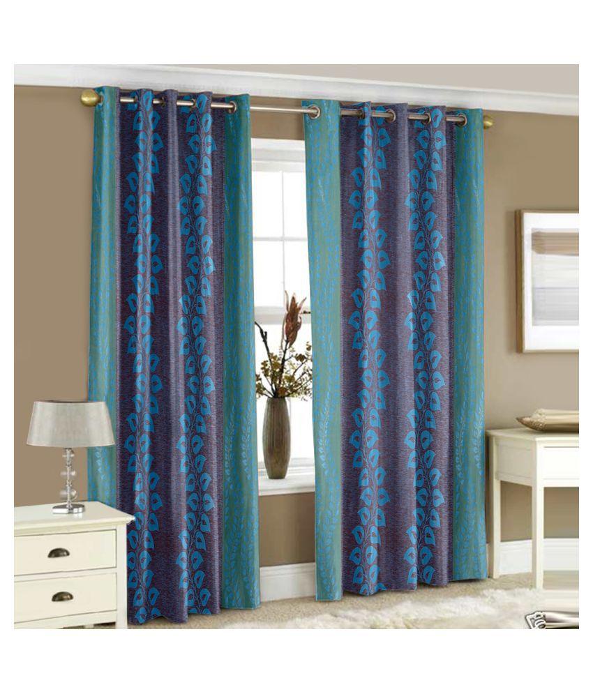 Story@Home Set of 2 Window Semi-Transparent Eyelet Polyester Curtains Aqua