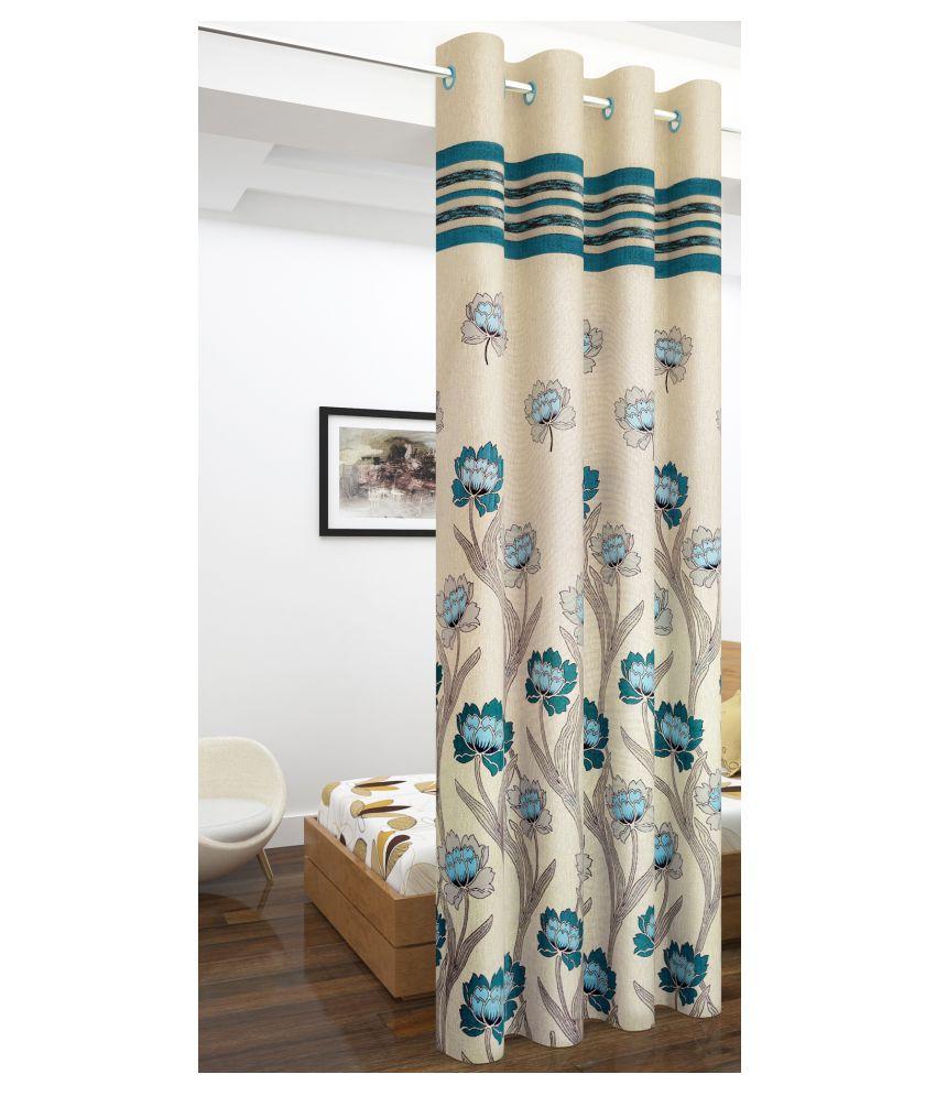 Story@Home Single Long Door Blackout Room Darkening Eyelet Jute Curtains Blue