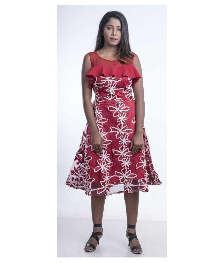 V2uniforms Satin Maroon A- line Dress