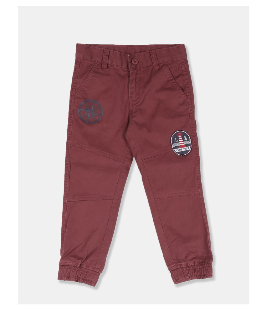 Boys Red Solid Woven Joggers