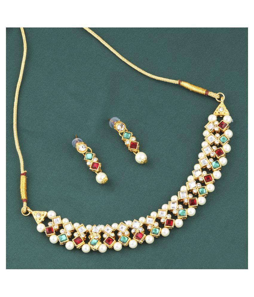 Silver Shine Alloy Multi Color Contemporary Contemporary/Fashion Antique Necklaces Set