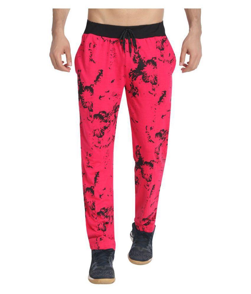 Diaz Dark Pink Cotton Trackpants