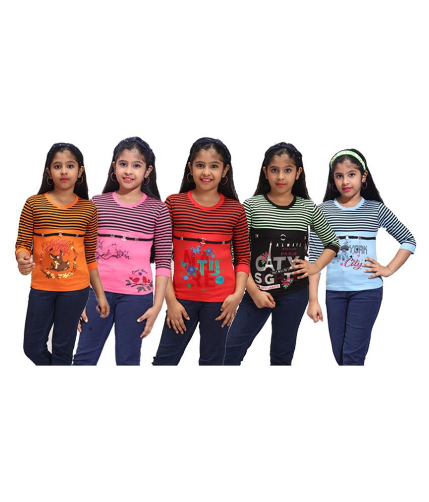 DSP Trends Girl's Printed Cotton Jersey T Shirt (Pack of 5)