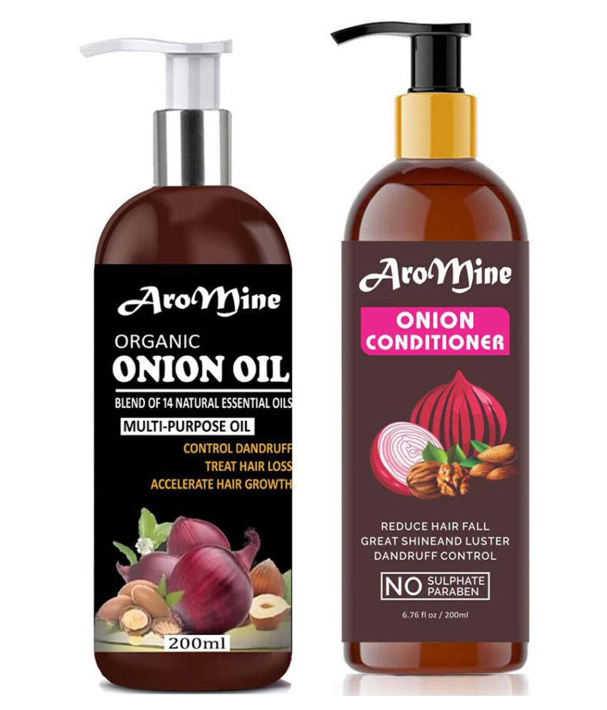 Aromine ONION Oil & ONION Conditioner For Hair Growth, & Dandruff 400 mL Pack of 2