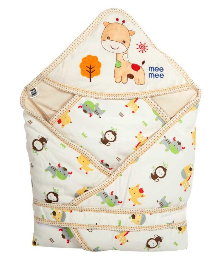 Mee Mee Yellow Cotton Baby Wrap cum blanket ( 39 cm × 7 cm - 1 pcs)