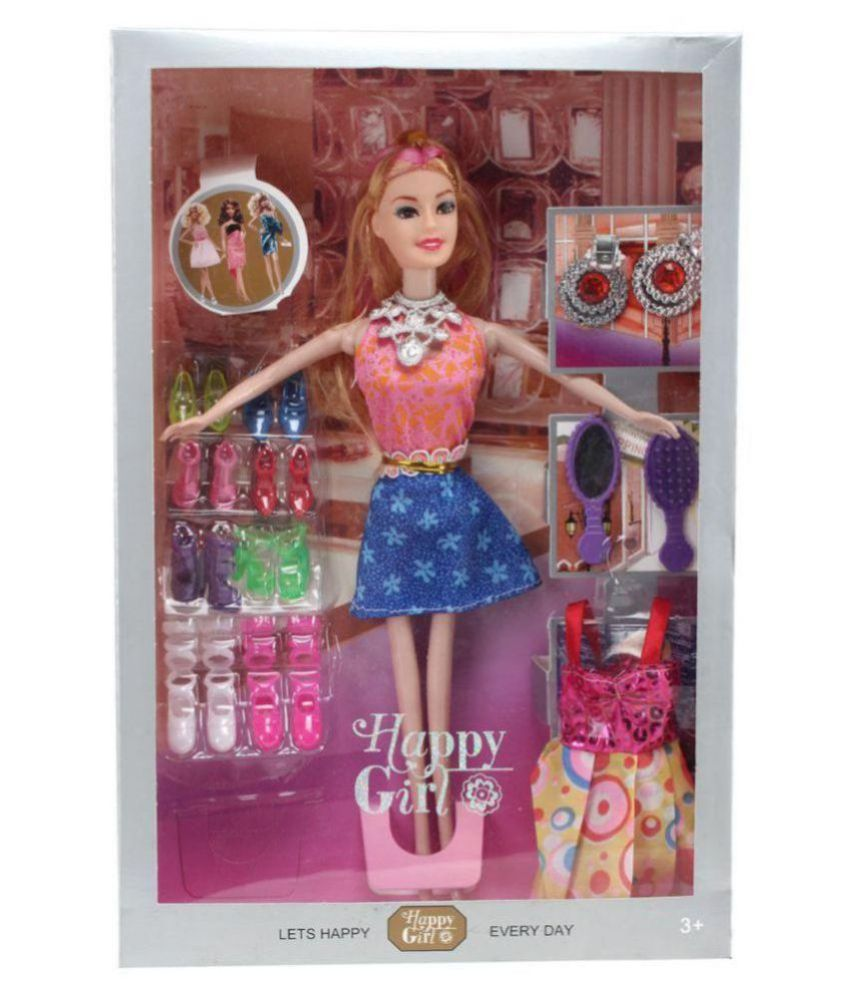 Yash Barbie & Little Baby Doll House Set / Tiara Barbie Doll Set Pink with Crown, Neckless, 8 Sets of Frock Fashion Accessories
