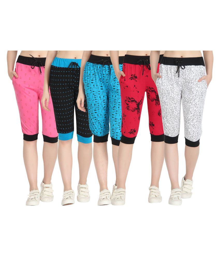 Diaz Multi Color Cotton Printed Capri