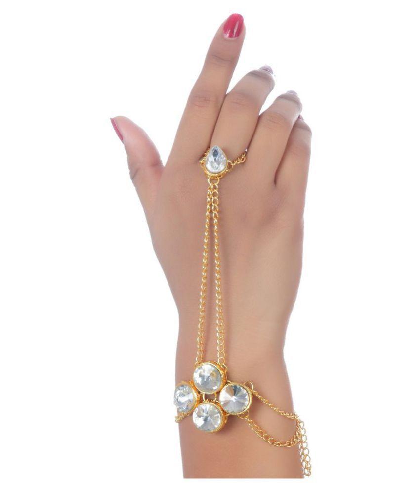 Lucky Jewellery Elegant White Color Gold Plated Stone Hand Bracelet Bridal Hathphool For Girls & Women (99-L1HS-19-W)