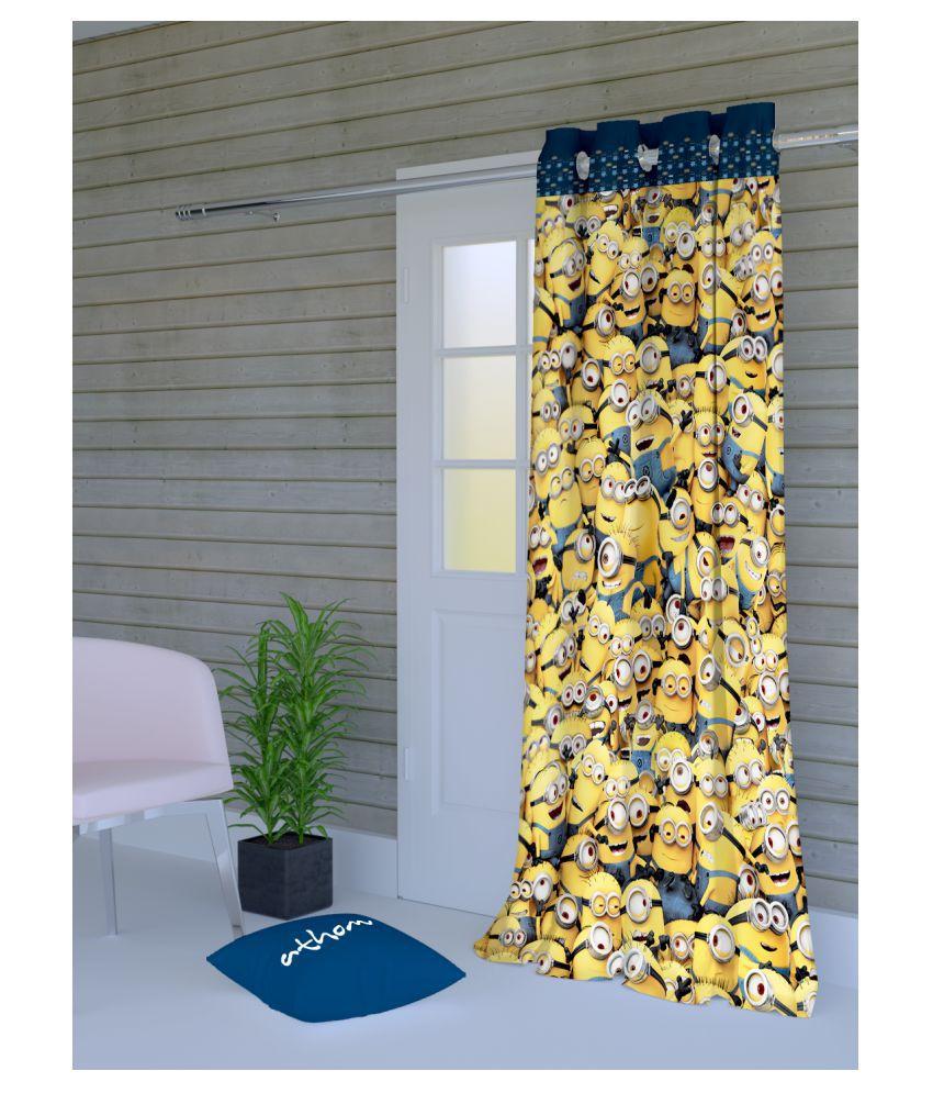 Minions Single Door Semi-Transparent Eyelet Polyester Curtains Yellow
