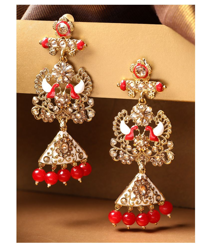 Priyaasi Red and Golden Gold-Plated Traditional Drop Earrings for Women and Girls