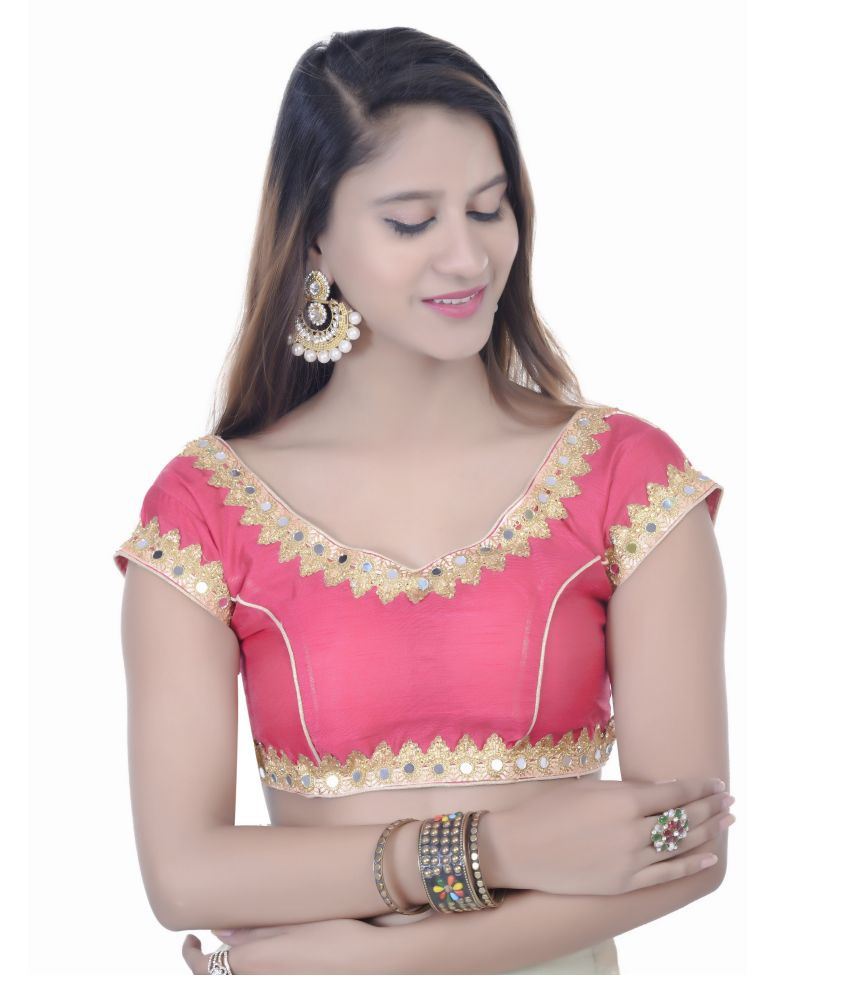 Fadrin Pink Dupian Silk Readymade with Pad Blouse