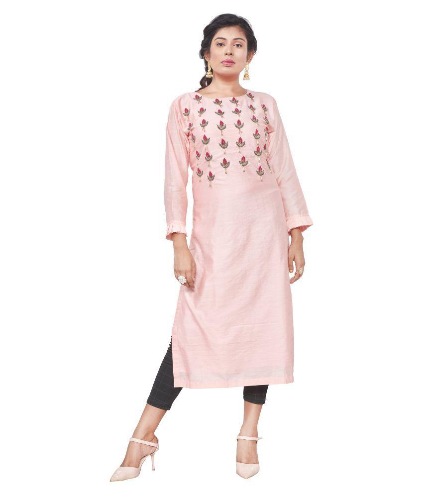 S S COLLECTION Pink Bangalore Silk Anarkali Kurti