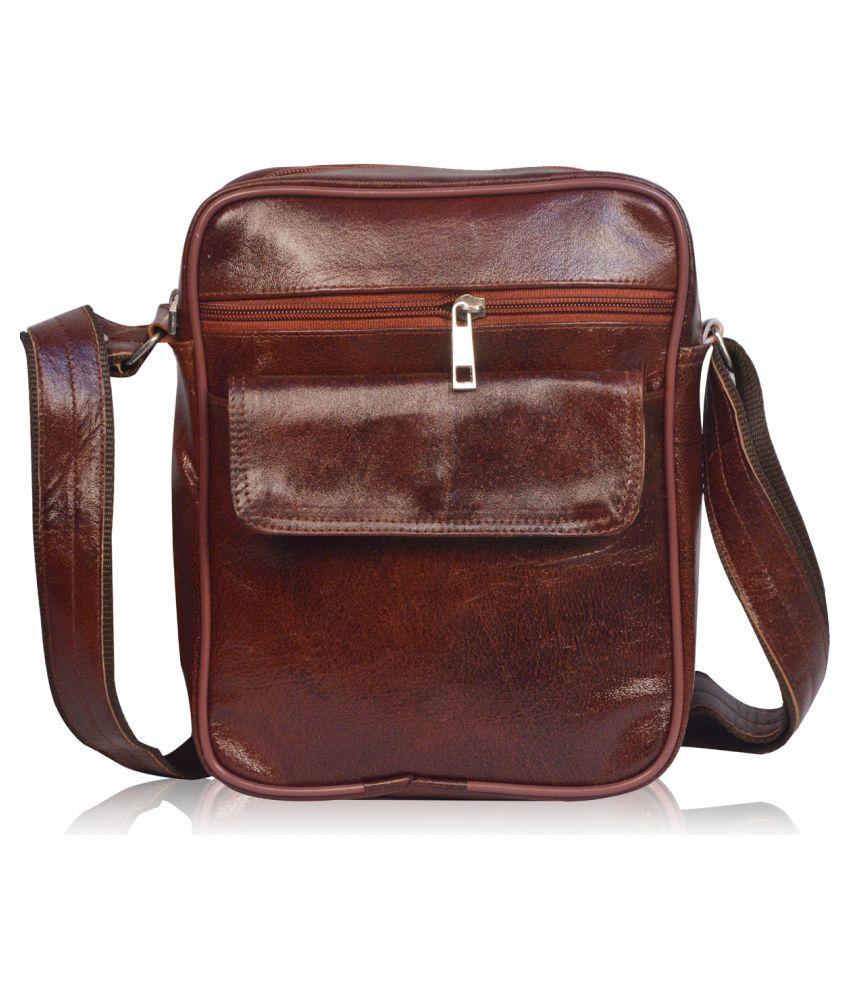 Roy variety's RV-SBMEN006 Brown Leather Office Messenger Bag