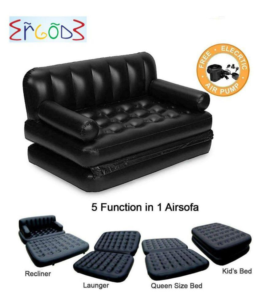 Ergode 5 in 1 Inflatable 3 Seater Queen Size Sofa Cum Bed with Pump and Carry Bag