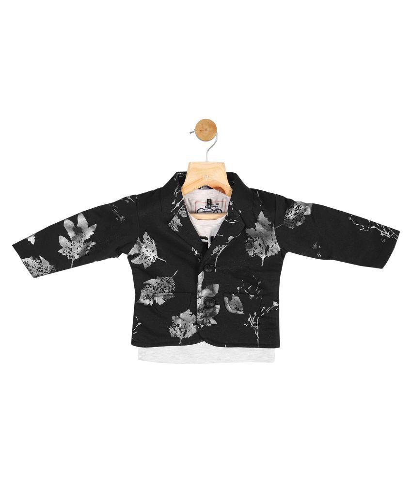 Gusto Baby Boy's Black Cotton Blend Blazer with T-Shirt