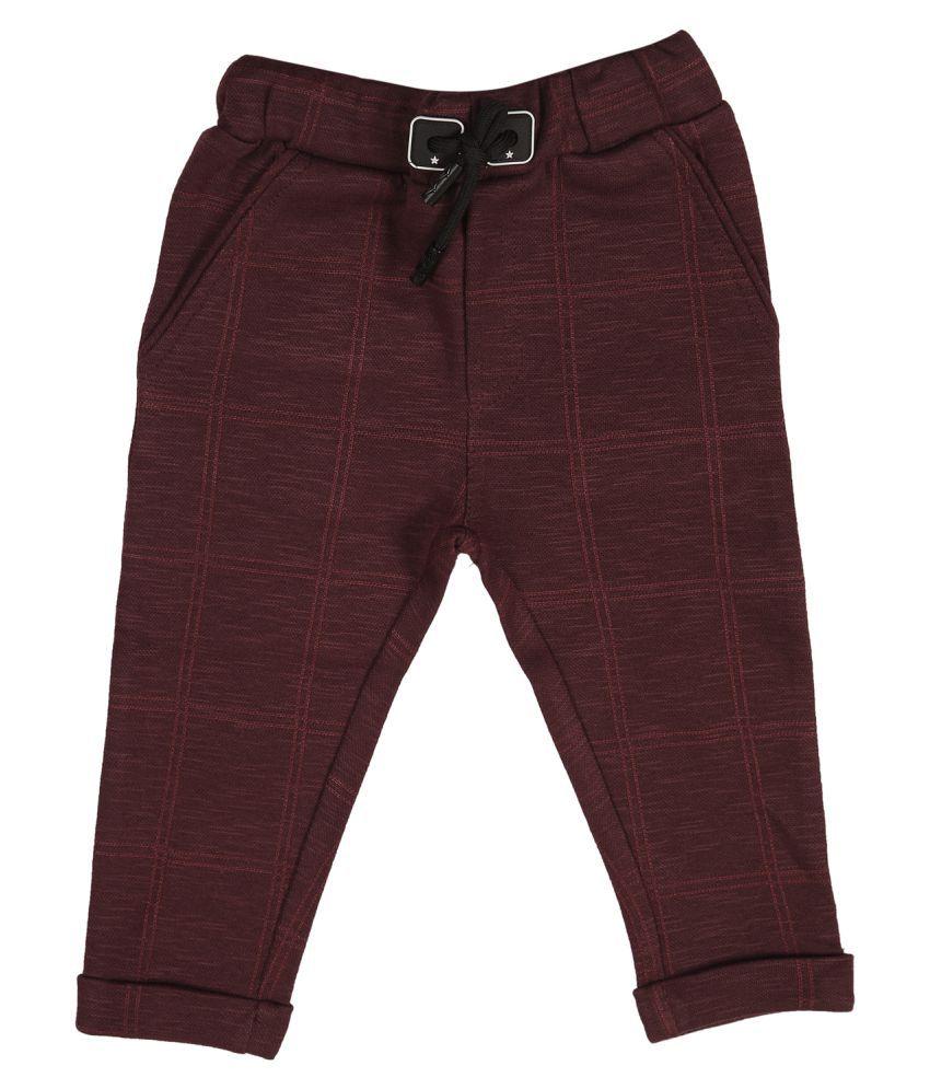 Gusto Baby Boy's Maroon Checks Printed Jogger Pants