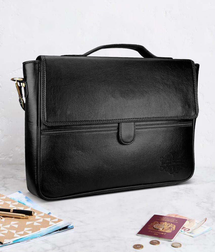 5d5d4ba1adf Home Story Black P.U Leather Office Bag Side Bag leather Bag For Men &  Women Shoulder Bags