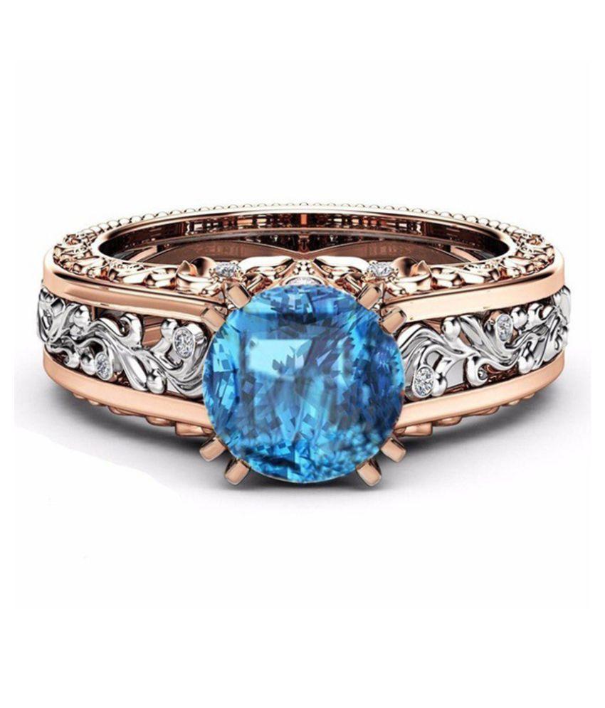 Sea Blue Ladies Ring Alloy Fashion Jewellery