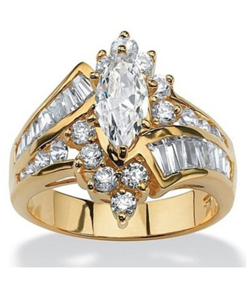 Beauty Ladder Zircon Ring Golden Color Fashion Jewellery