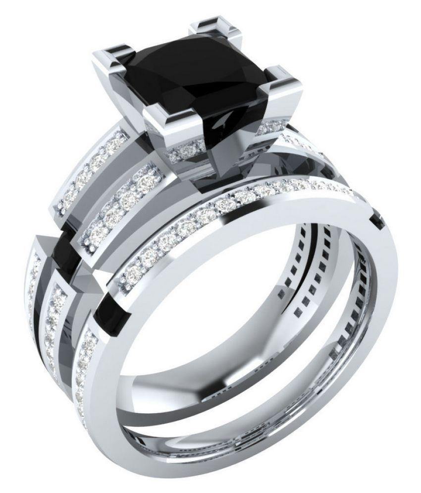 1Pc Black Square Diamond Zircon Ring Copper Plated Silver Fashion Jewellery