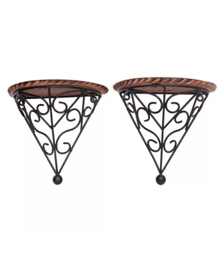 Onlineshoppee Wooden & Iron Fancy Design Wall Bracket/Rack Set Of 2