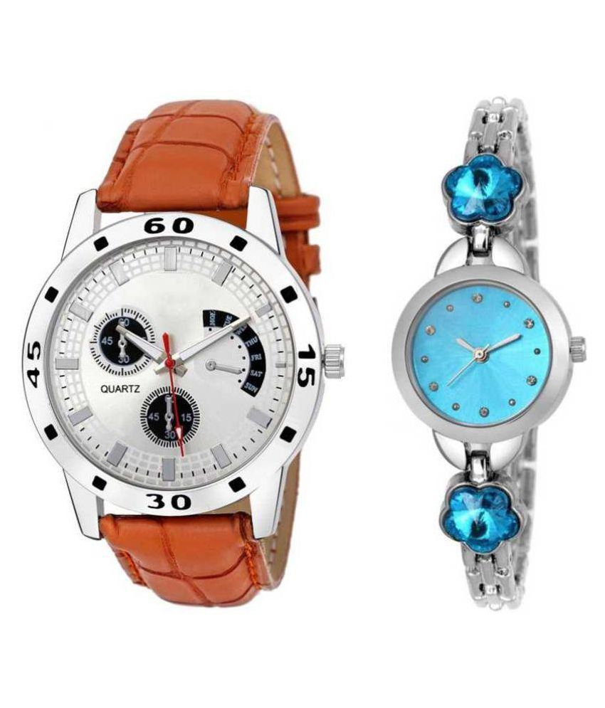 newmen White Non-Functional Chronograph NEW COUPLE WATCH