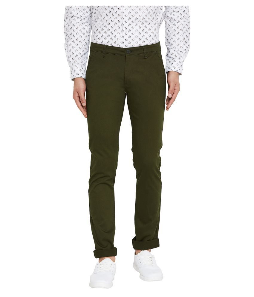 Canary London Green Slim -Fit Flat Chinos
