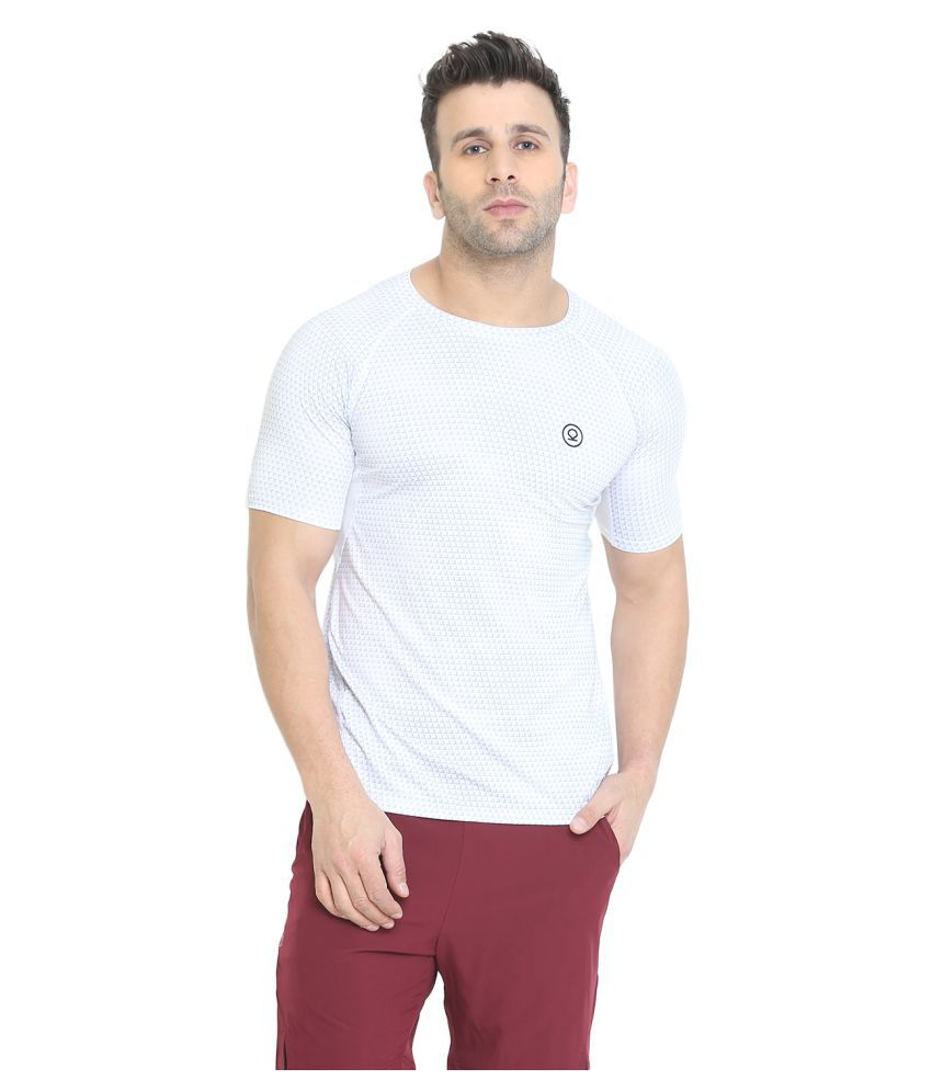 CHKOKKO Round Neck Regular Fit Dry Fit Stretchable Yoga Gym Sports Tshirts for Men White XXL