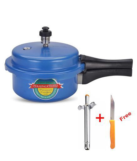 Superlife 3 L Aluminium OuterLid Pressure Cooker Gas Stovetop Compatible with Gas Lighter & Knife
