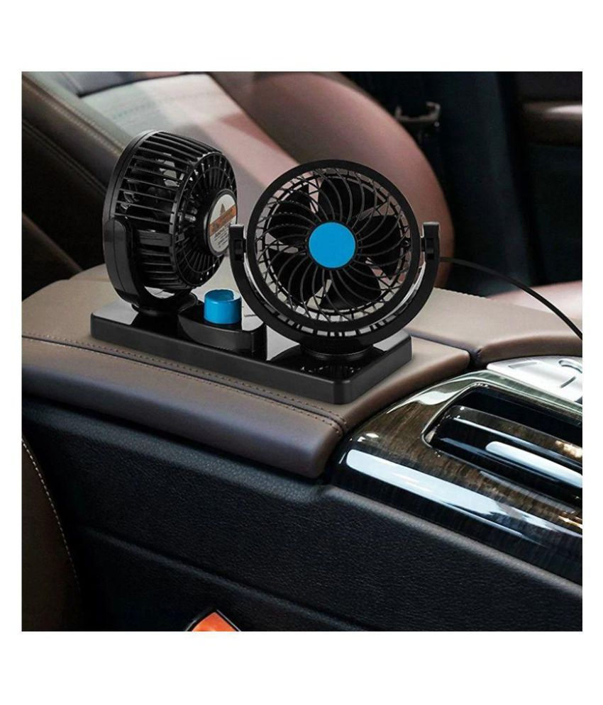 Hilltop Car Fan 12V 360 Degree Rotatable Dual Head 2 Speed Quiet Strong  Dashboard Auto Cooling Air Fan