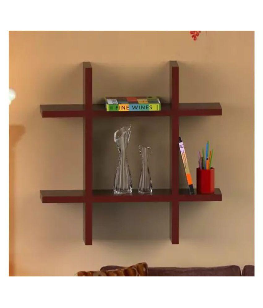 Onlineshoppee Beautiful MDF Decorative Corner Wall Shelf - Brown