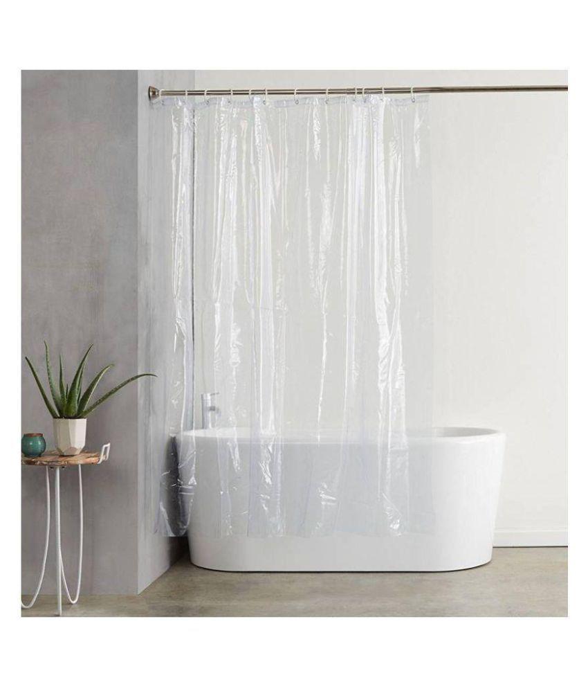 Dakshya Industries Single Long Door Transparent Ring Rod PVC Curtains White
