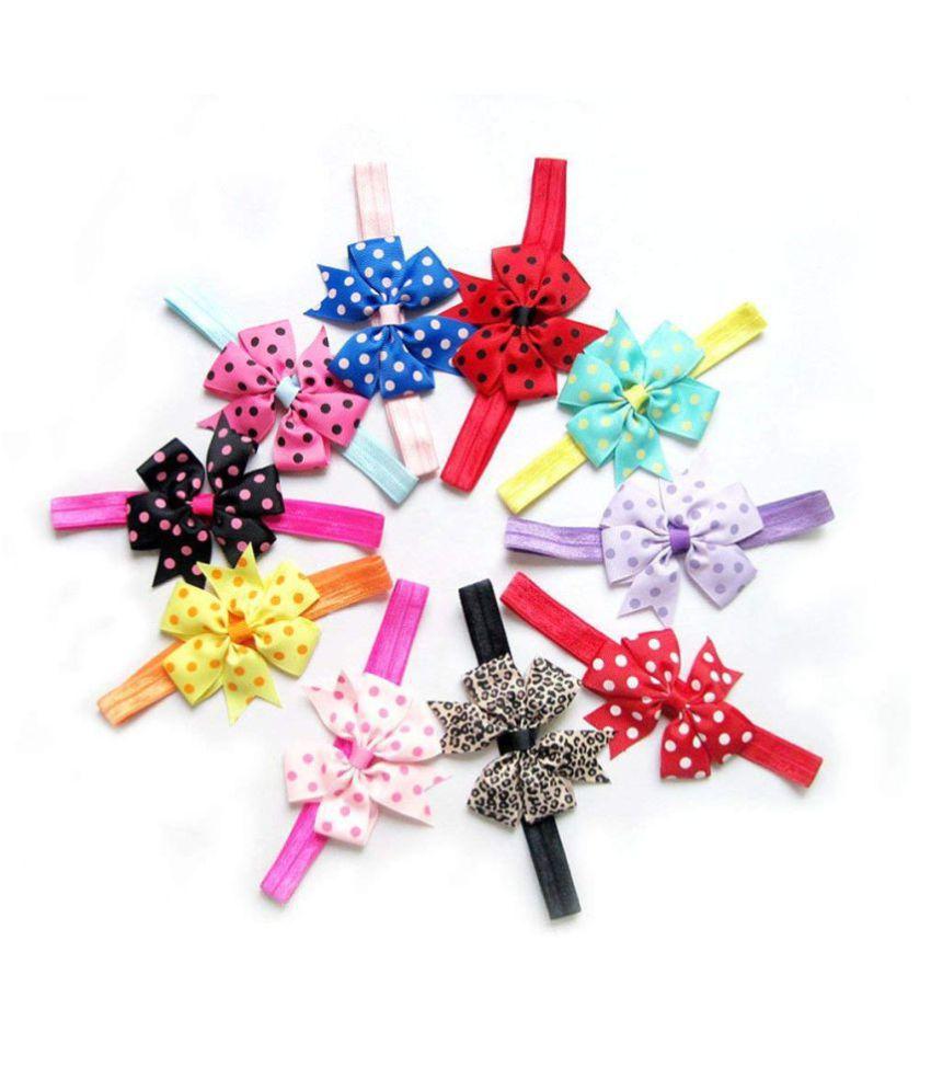 FOK 10 Pc Chiffon Satin Lace Bow Elastic Head Hair Bands For Babies kids Girls