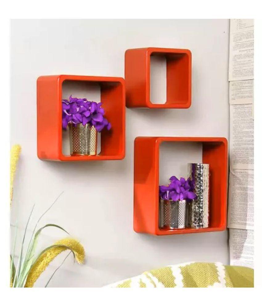 Onlineshoppee Square Nesting MDF Wall Shelf - Orange