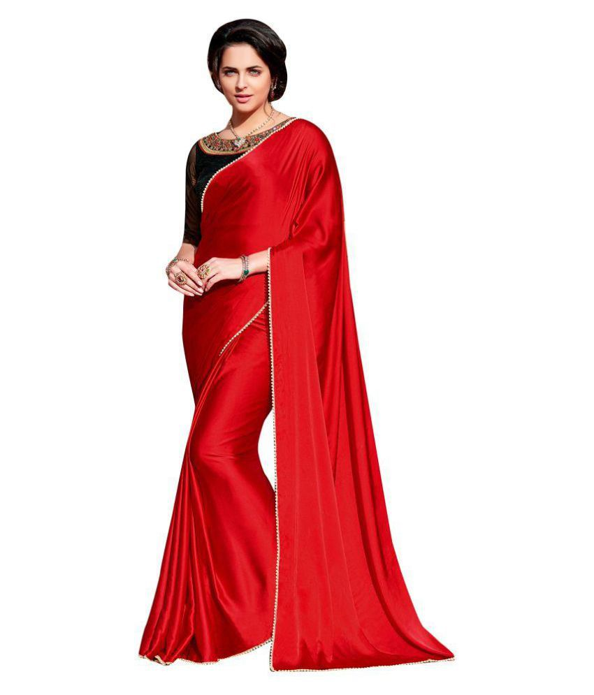 532d59fba9 Shaily Retails Red Satin Saree - Buy Shaily Retails Red Satin Saree Online  at Low Price - Snapdeal.com