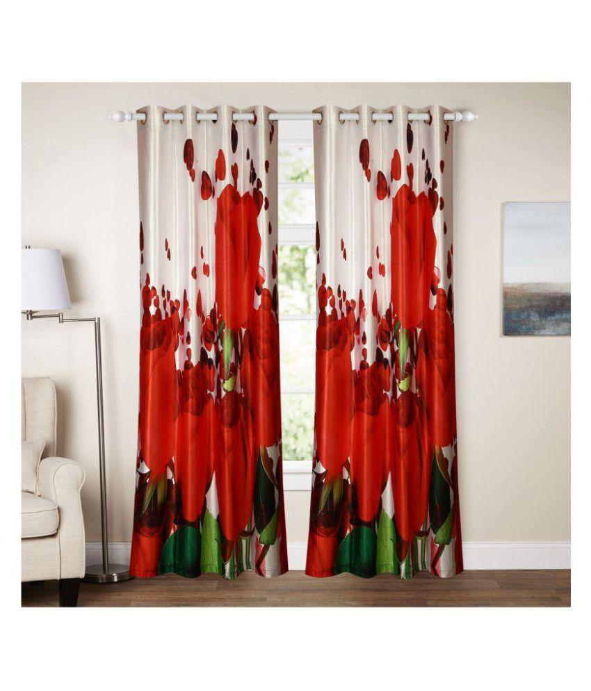 E-Retailer Single Long Door Semi-Transparent Eyelet Polyester Curtains Multi Color