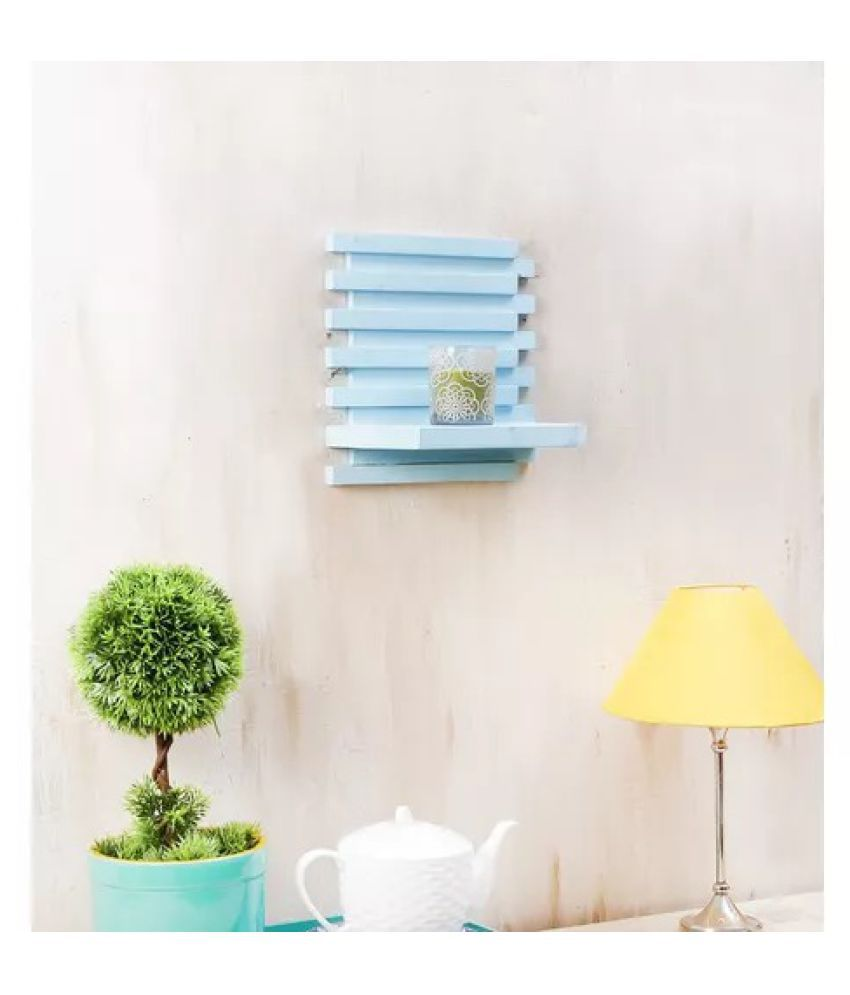 Onlineshoppee Beautiful Wooden Wall Rack ,Color-Blue